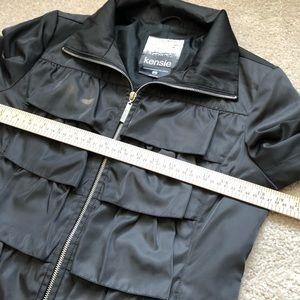 Kensie Jackets & Coats - Kensie Black Ruffle Tiered Zipper Coat